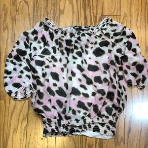 INC pink and black animal print blouse